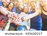 multiracial group of friends... | Shutterstock . vector #435630217