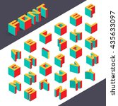 isometric 3d type font set.... | Shutterstock .eps vector #435633097