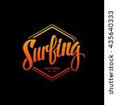 surfing logo. surf calligraphy. ... | Shutterstock .eps vector #435640333