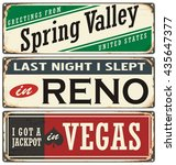 retro tin sign collection with... | Shutterstock .eps vector #435647377