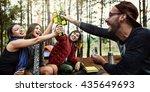 backpacker camping hiking... | Shutterstock . vector #435649693
