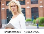 happy business woman with... | Shutterstock . vector #435653923