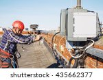worker finished work and takes...   Shutterstock . vector #435662377
