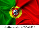portugal flag of silk... | Shutterstock . vector #435669397