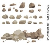 rock stone big set cartoon.... | Shutterstock .eps vector #435676423