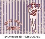 sweet summer vintage greeting...   Shutterstock .eps vector #435700783