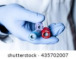 test tubes in hand  palm ... | Shutterstock . vector #435702007