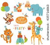 set of cute animals for happy... | Shutterstock .eps vector #435716863