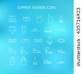 summer fashion line icons ... | Shutterstock .eps vector #435716923