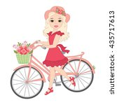 Vector Blond Girl With Bicycle