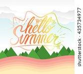 hello summer hand lettering... | Shutterstock .eps vector #435734977