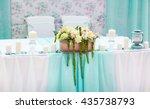 wedding table decorations in... | Shutterstock . vector #435738793
