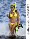 pretty woman in sexy yellow... | Shutterstock . vector #435754327