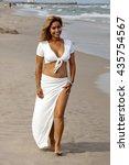 beautiful woman standing on... | Shutterstock . vector #435754567