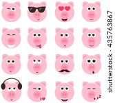pig smiley faces set