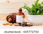 Small photo of Alternative health care fresh herbal ,dry and herbal capsule with mortar on wooden background.