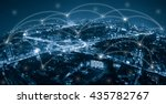city with conncetion line ... | Shutterstock . vector #435782767