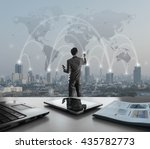 businessman pressing on digital ... | Shutterstock . vector #435782773