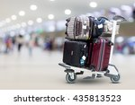 airport luggage trolley with... | Shutterstock . vector #435813523