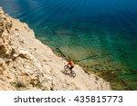 mountain biker riding a bike at ... | Shutterstock . vector #435815773