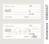 bank check template set. blank...   Shutterstock .eps vector #435823327