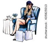 woman having tea after shopping ... | Shutterstock .eps vector #435825013