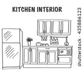 sketch of modern kitchen... | Shutterstock .eps vector #435886123