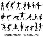 set vector silhouettes of young ... | Shutterstock .eps vector #435887893