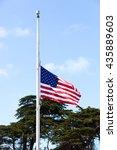 American Flag Waving At Half...
