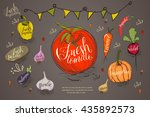 set of vintage vegetables... | Shutterstock .eps vector #435892573