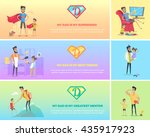 dads day. super dad with his... | Shutterstock .eps vector #435917923