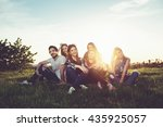 group of people having fun... | Shutterstock . vector #435925057