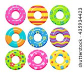 colorful swim rings icon set ... | Shutterstock .eps vector #435934423