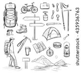 vector set of sketches on the... | Shutterstock .eps vector #435936763