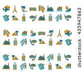 vector set of travel icons... | Shutterstock .eps vector #435947863