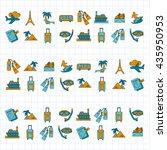 vector set of travel icons... | Shutterstock .eps vector #435950953