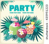 pineapple cocktail  coconut... | Shutterstock .eps vector #435951223
