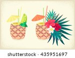 pineapple tropical cocktails... | Shutterstock .eps vector #435951697