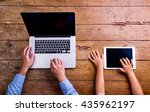 father and son  office desk... | Shutterstock . vector #435962197