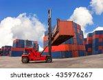 crane lifter handling container ... | Shutterstock . vector #435976267