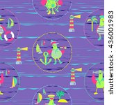 marine seamless background for... | Shutterstock .eps vector #436001983