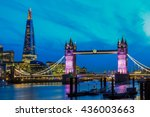 london skyline at night with... | Shutterstock . vector #436003663