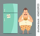funny cartoon character. fat... | Shutterstock .eps vector #436010923
