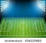football field with floodlights.... | Shutterstock .eps vector #436029883