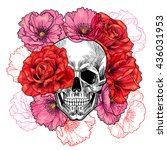 skull with roses and poppies.... | Shutterstock .eps vector #436031953