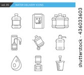 set thin line water delivery... | Shutterstock .eps vector #436033603