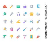 set of flat construction icons.