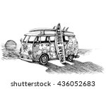 surf van on the beach. hand... | Shutterstock .eps vector #436052683