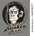 Monkey Action Print For T Shir...