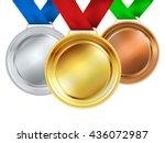 set of medals on white. vector... | Shutterstock .eps vector #436072987